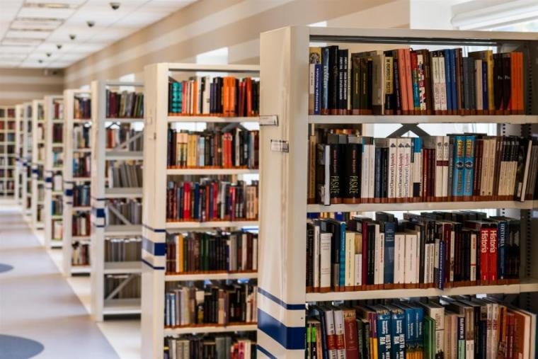 Rows of bookcases at a library
